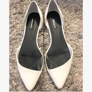 Zara Trafaluc White & Clear Pointed Toe Flats
